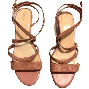 Cole Haan Light Pink Ankle Strap Mini Wedges